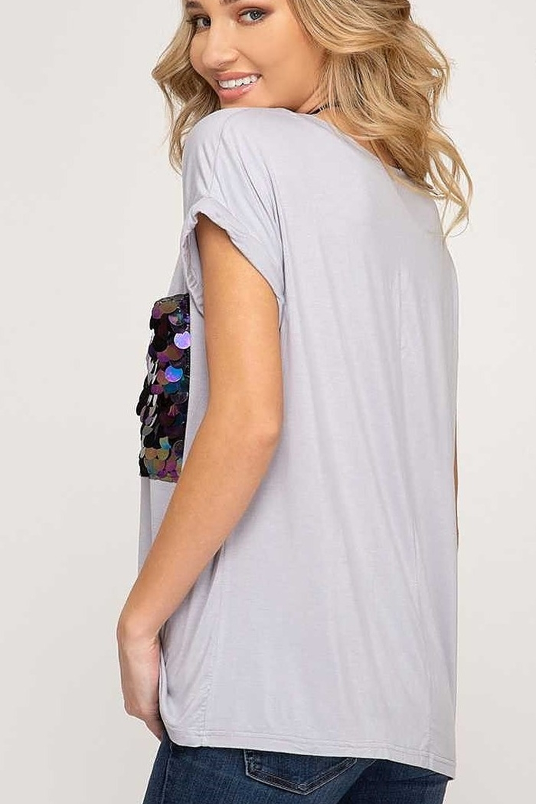 She and Sky Sequin Pocket Top - Front Full Image