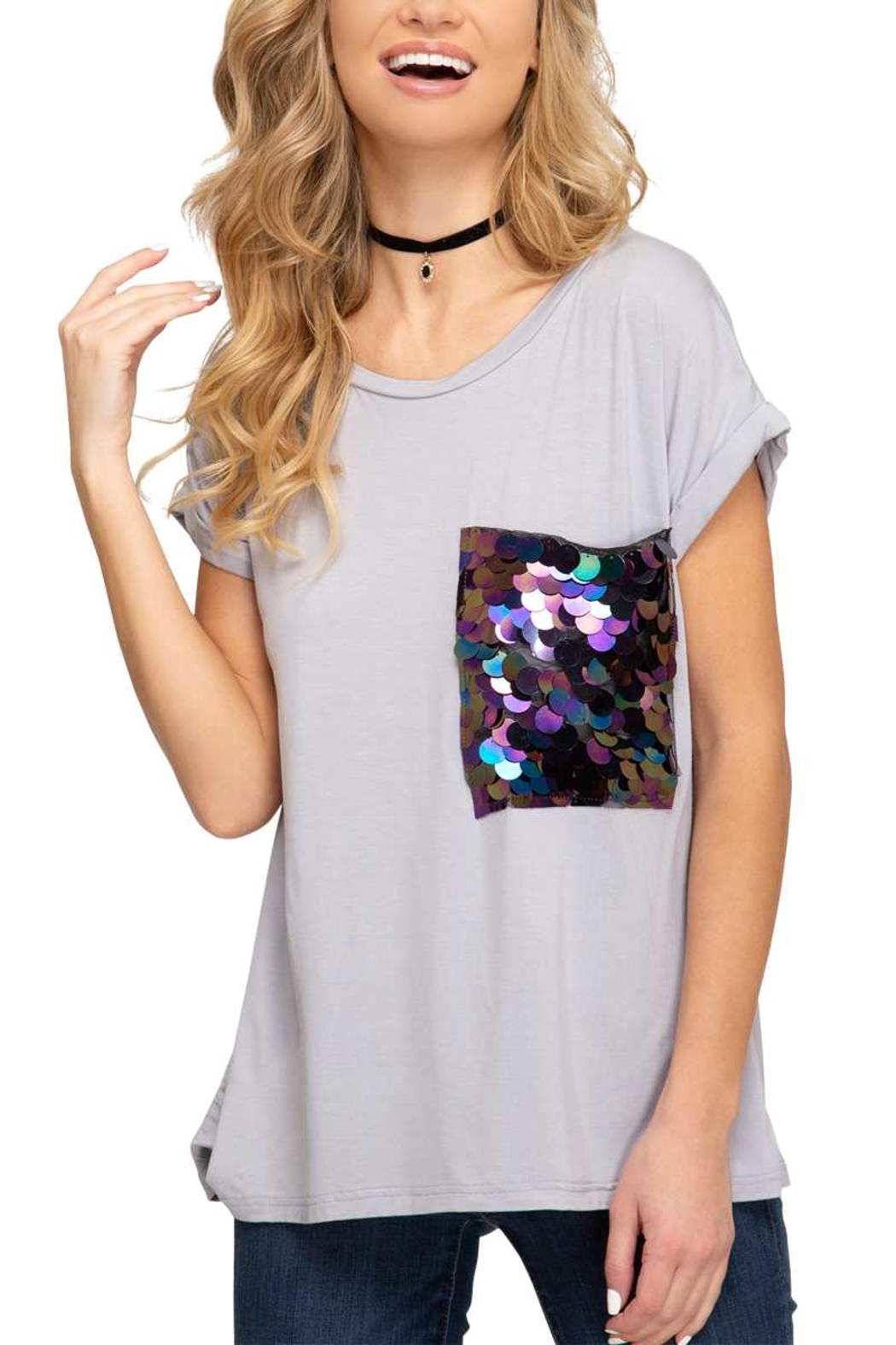 She and Sky Sequin Pocket Top - Main Image