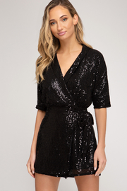 She + Sky Sequin Romper - Front cropped