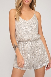 She + Sky Sequin Sass Romper - Front cropped