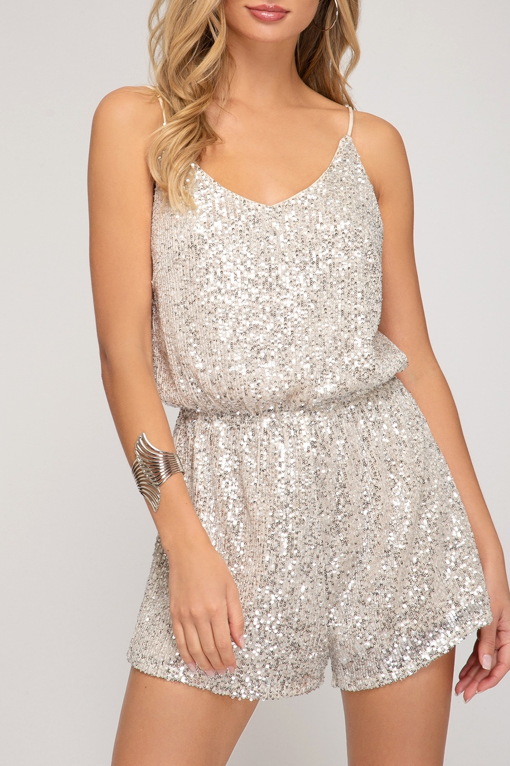 She + Sky Sequin Sass Romper - Front Cropped Image