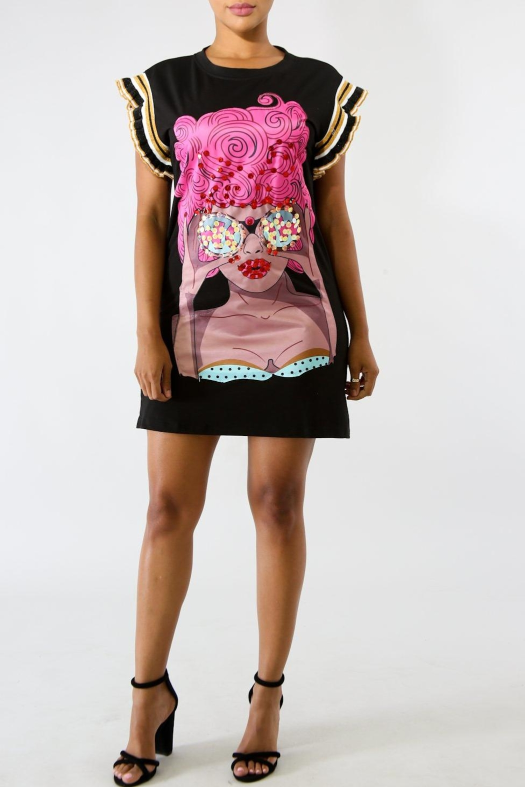 Good Time Sequin Shirt Dress - Front Cropped Image