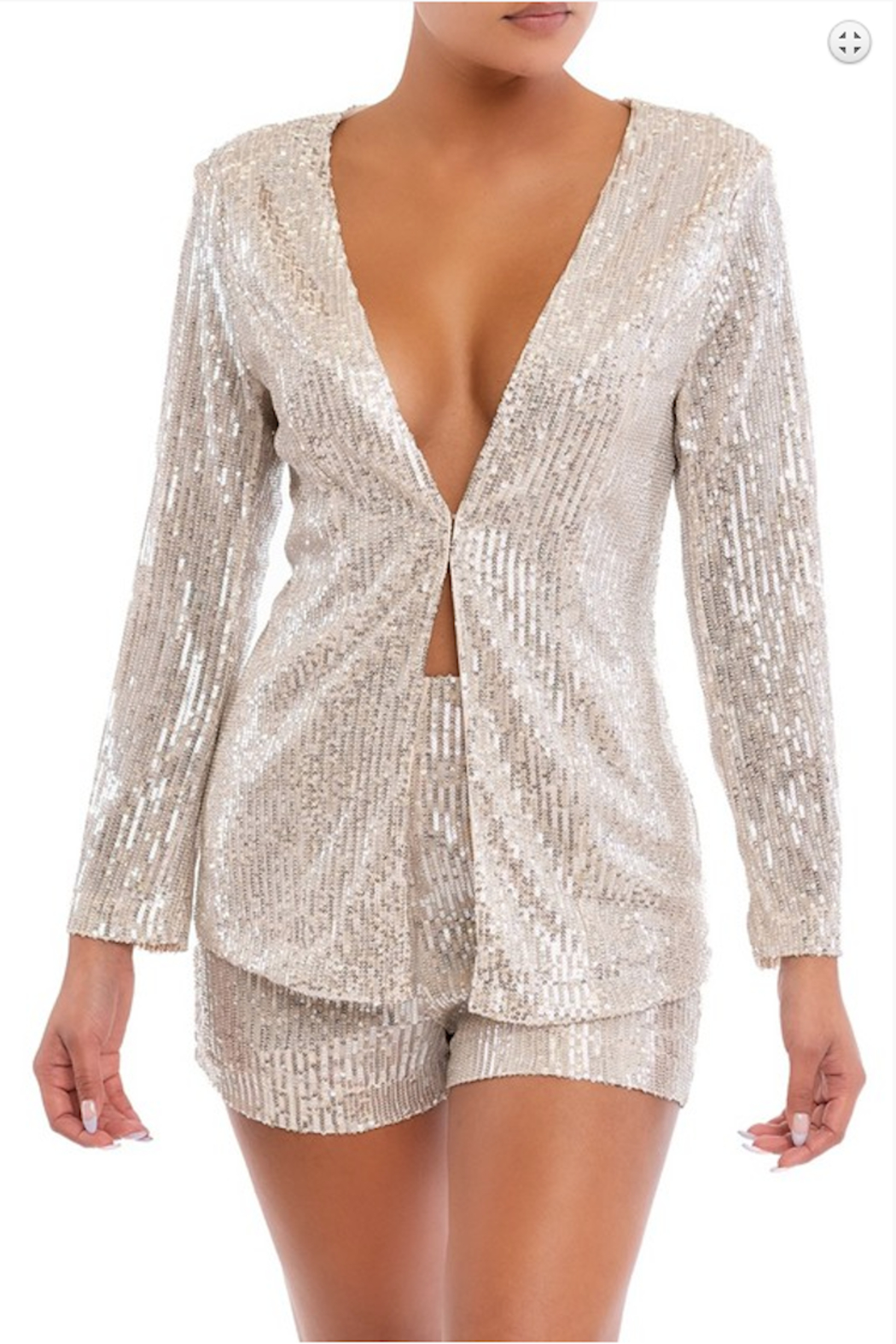 luxxel Sequin Short and Blazer Set - Front Cropped Image