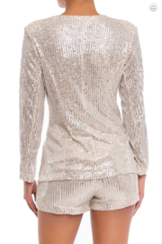 luxxel Sequin Short and Blazer Set - Front full body