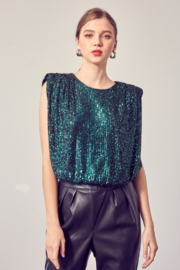 Do + Be  Sequin Shoulder Pad Tank - Product Mini Image