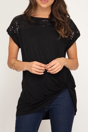 LuLu's Boutique Sequin Shoulder Top - Product Mini Image