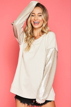 Fantastic Fawn  Sequin Sleeve Sweatshirt - Product List Image