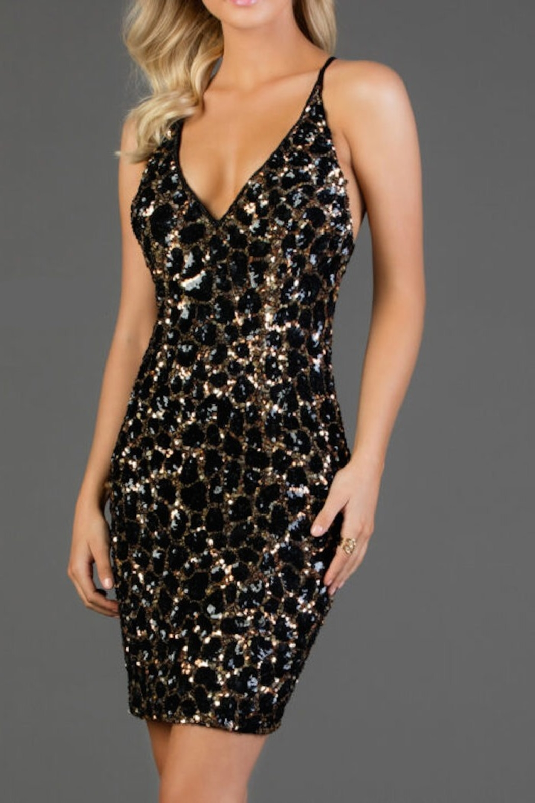 Scala Sequin Slip Dress - Front Cropped Image