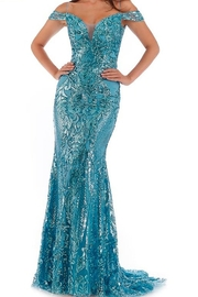 Morrell Maxie Sequin Stretch Tulle Off the Shoulder Gown - Product Mini Image