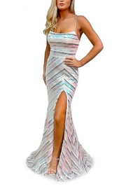 Morrell Maxie Sequin Stripe Tie Back Gown - Product Mini Image