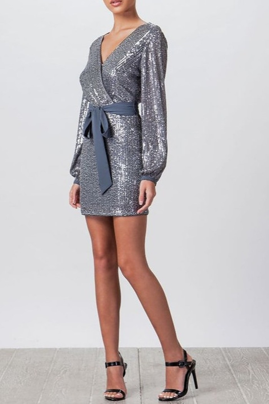 Flying Tomato Sequin Tie Waist Dress - Side Cropped Image