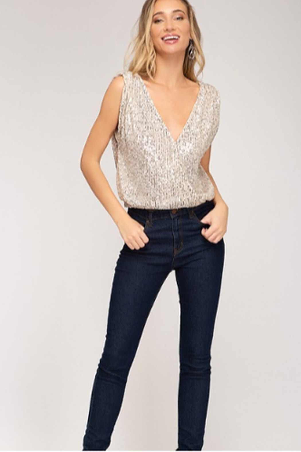 She + Sky Sequin Top - Front Cropped Image