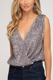 She + Sky Sequin Top - Product Mini Image
