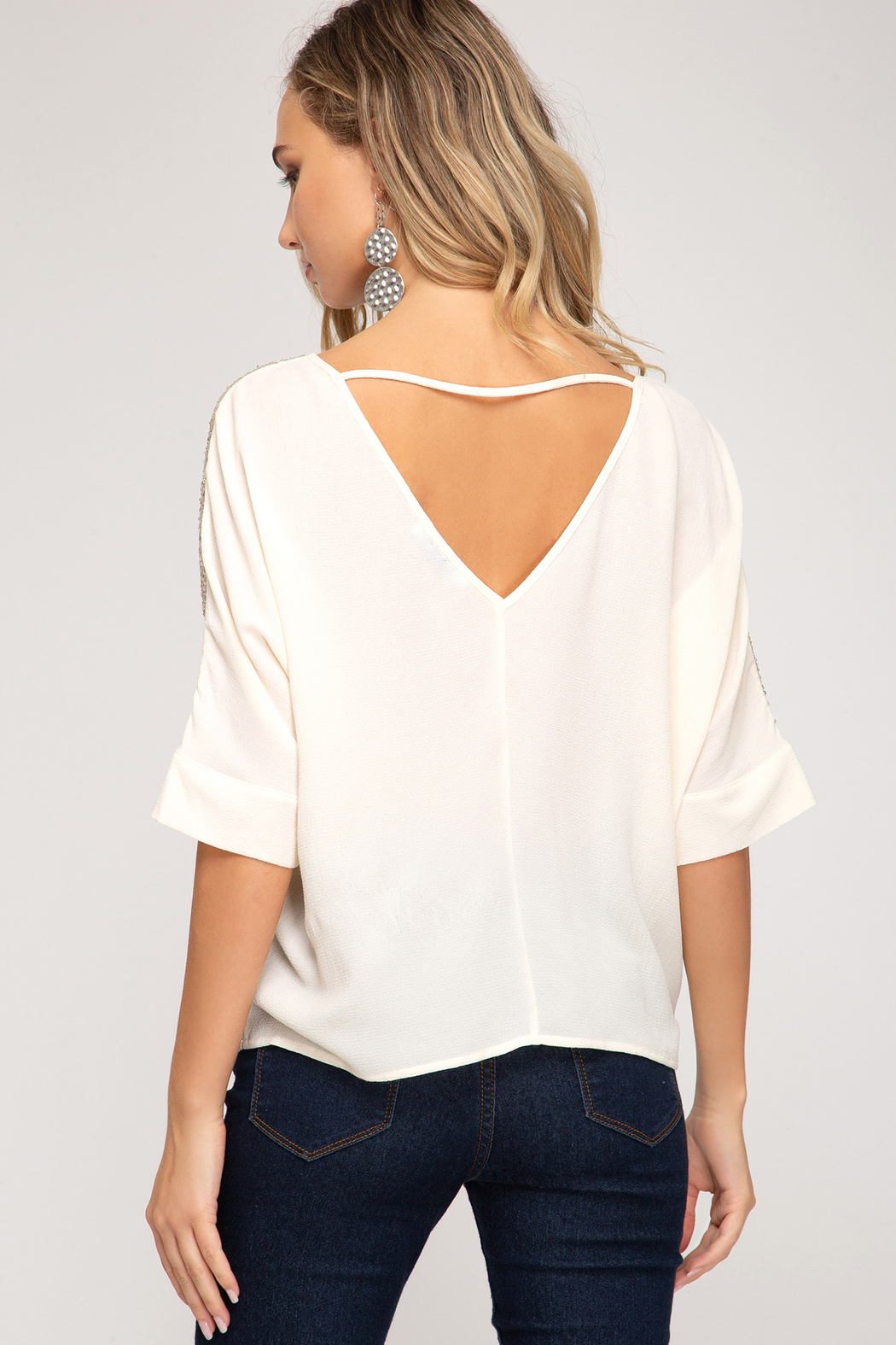 She + Sky Sequin Top - Front Full Image