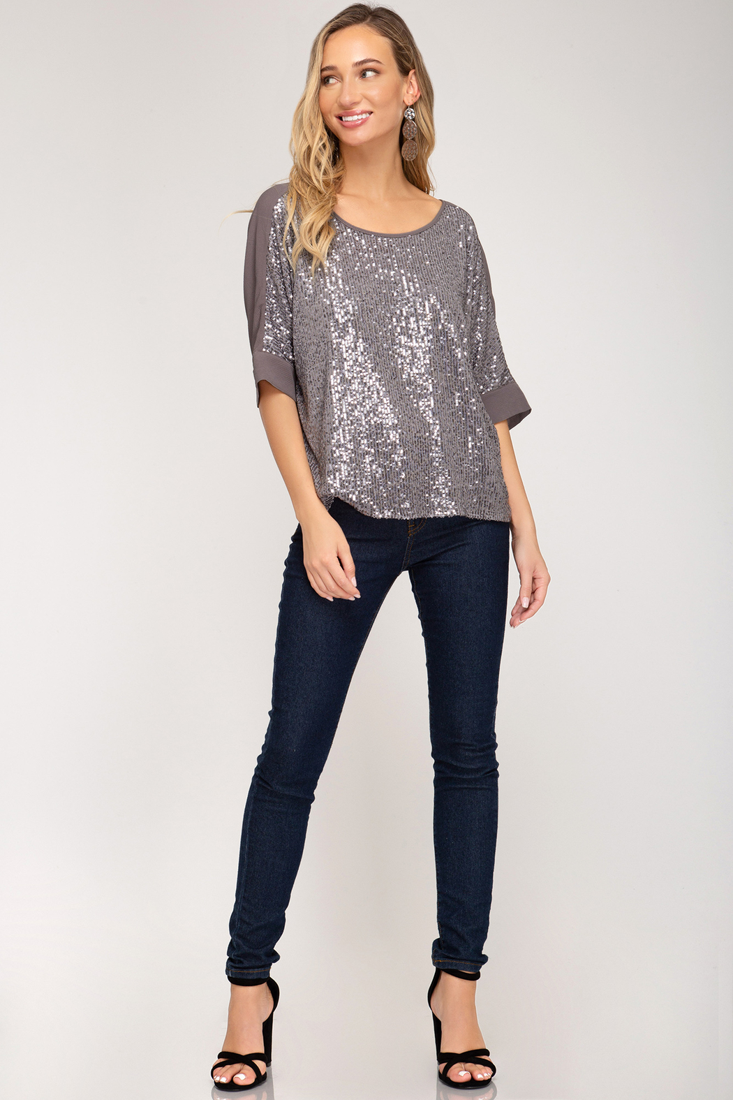 She + Sky Sequin Top - Side Cropped Image