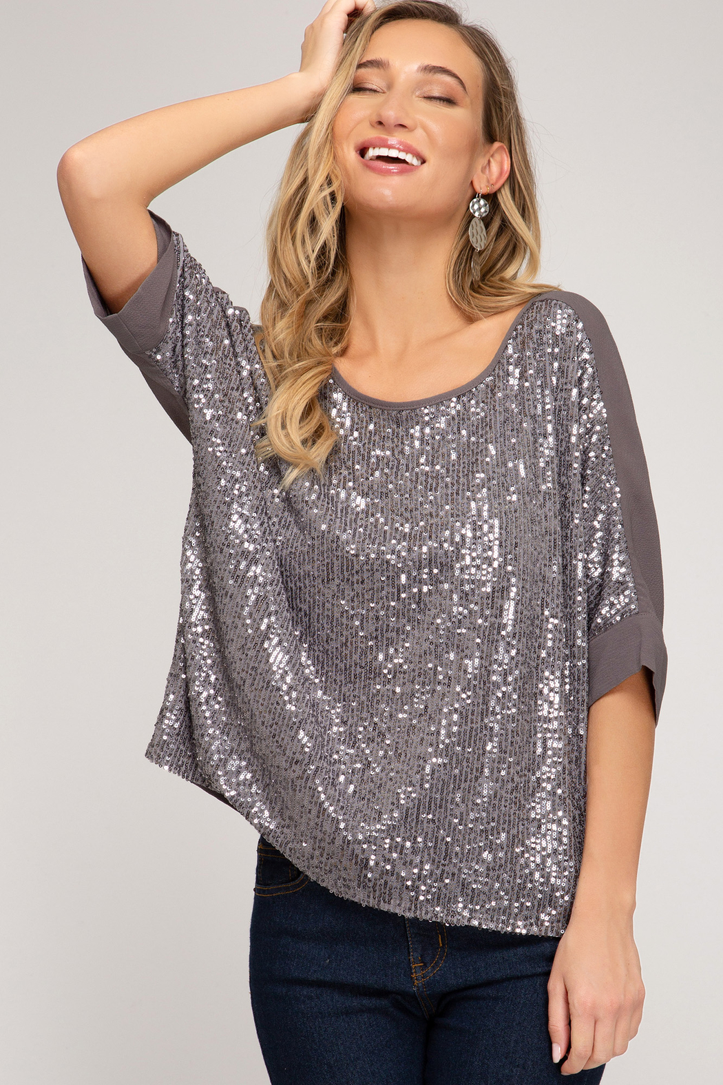 She + Sky Sequin Top - Main Image