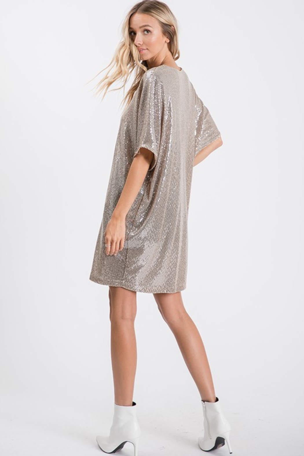 Upmost Sequin Tunic Dress - Side Cropped Image