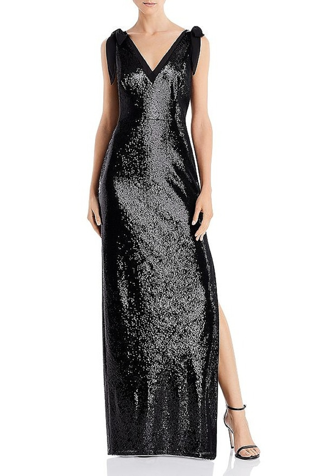 Aidan Mattox Sequin V-Neck Gown With Bow Shoulders - Main Image