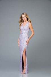 Scala Sequin V-Neck Gown with Tie Back - Product Mini Image