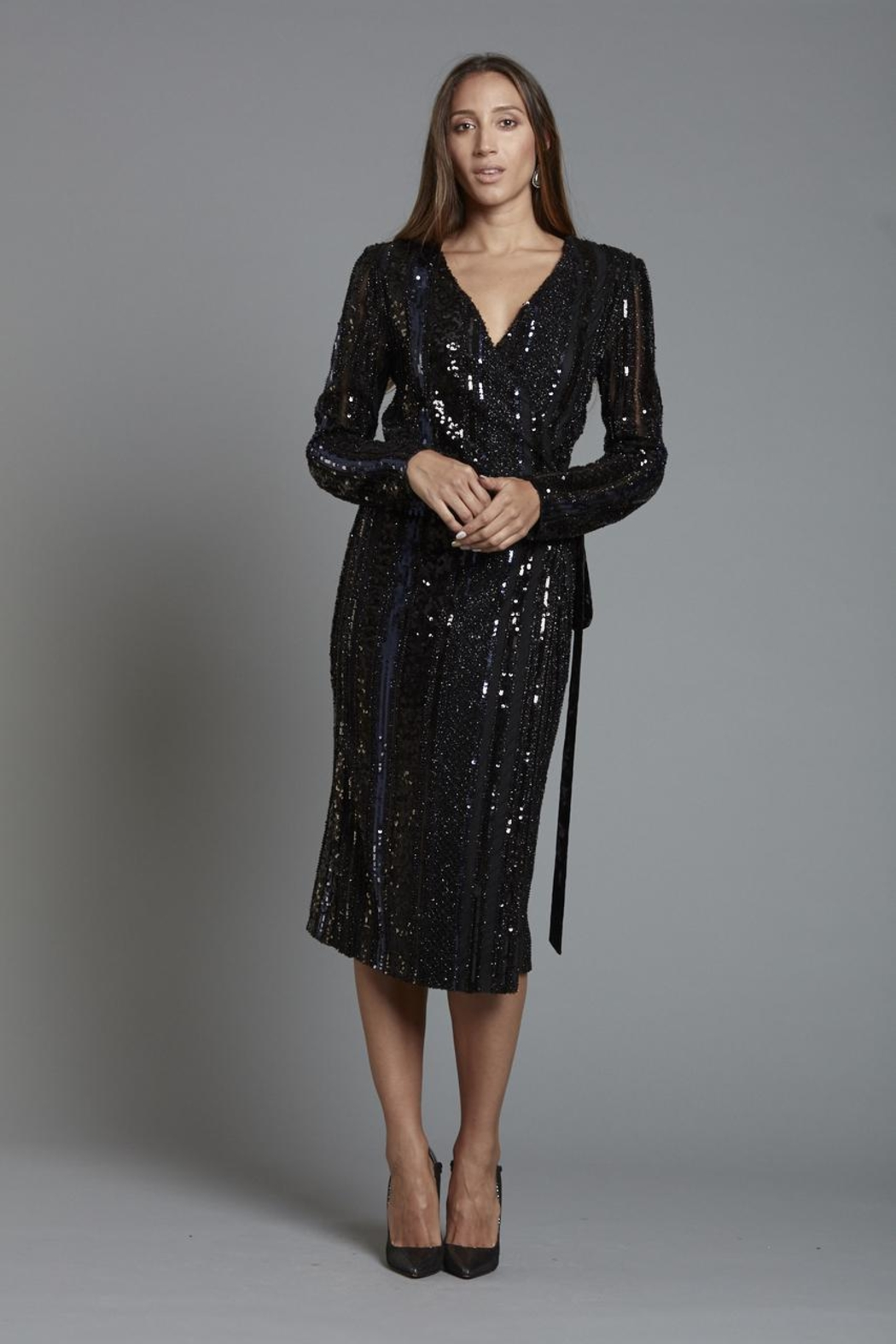 Alberto Makali Sequin Wrap Dress - Front Cropped Image