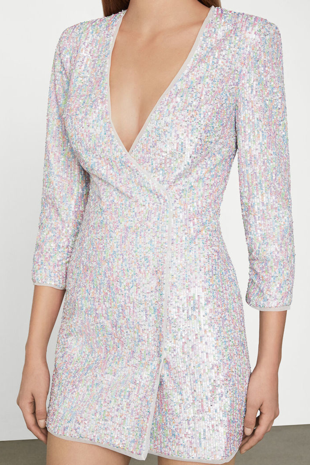 BCBG MAXAZRIA Sequin Wrap Dress - Side Cropped Image