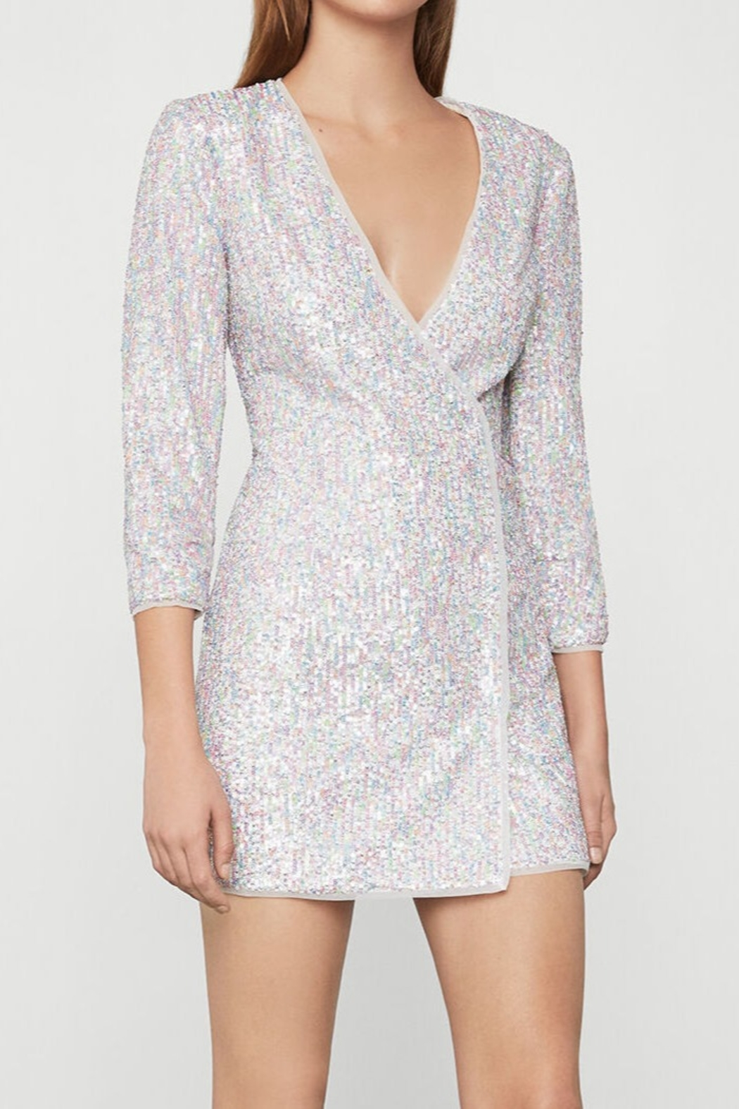 BCBG MAXAZRIA Sequin Wrap Dress - Front Cropped Image