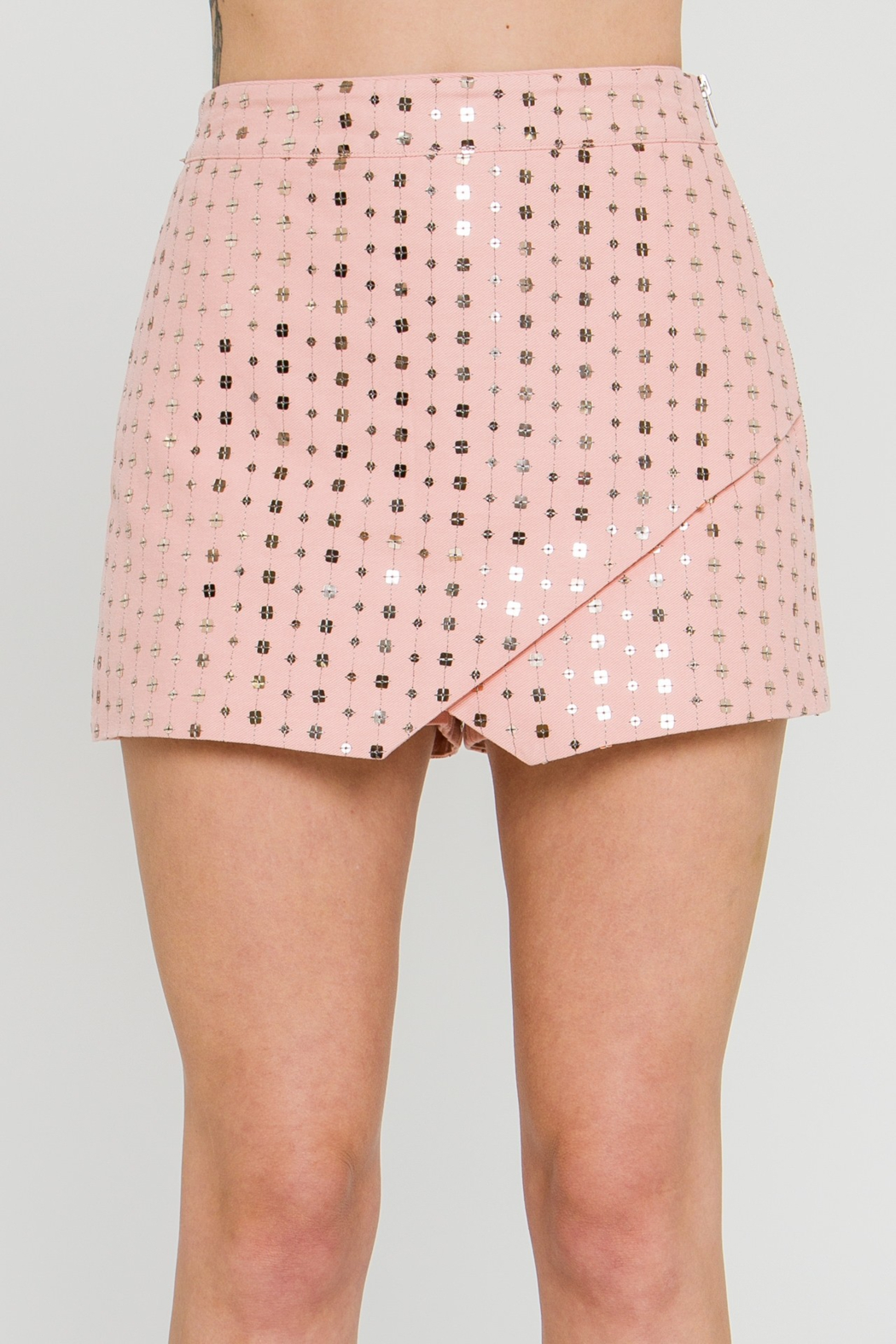 FREE THE ROSES Sequin Wrap Skort - Front Full Image