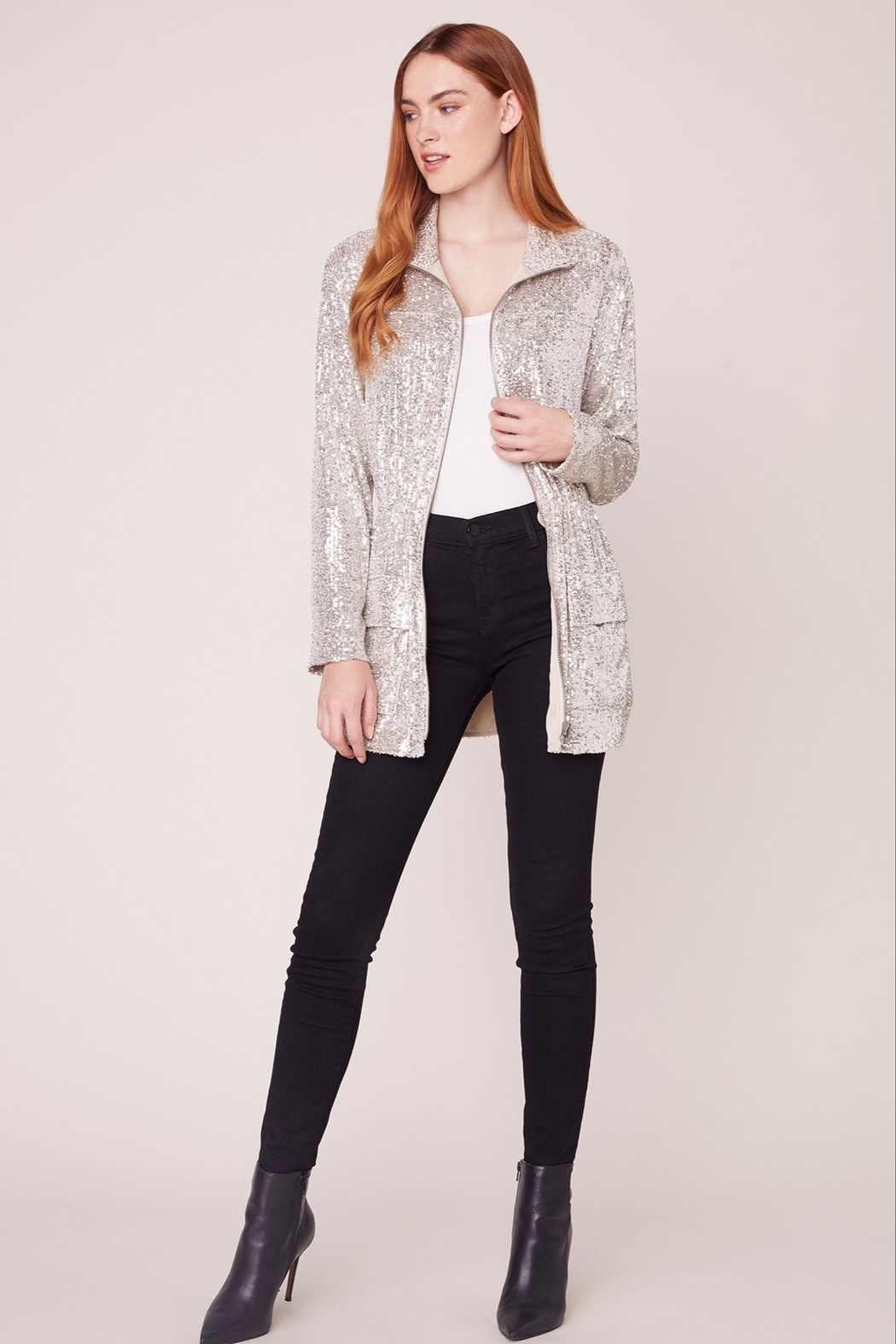 BB Dakota Sequin Zip Up Jacket - Front Cropped Image