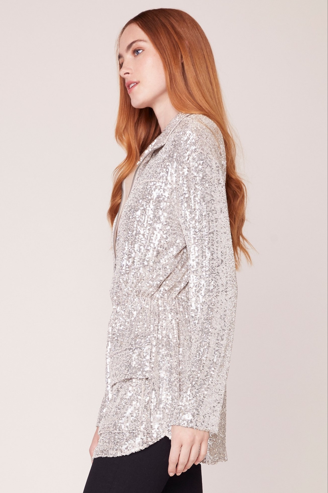 BB Dakota Sequin Zip Up Jacket - Side Cropped Image