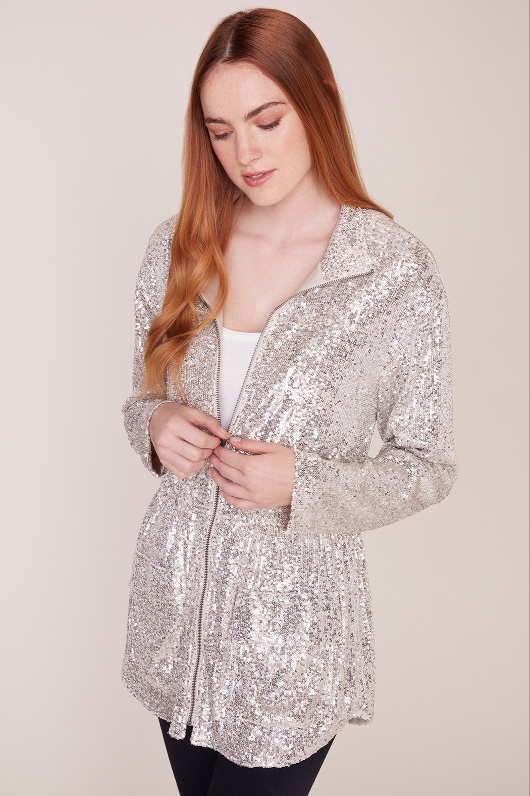 BB Dakota Sequin Zip Up Jacket - Front Full Image