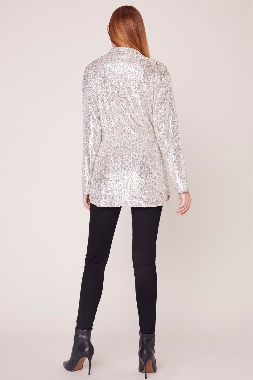 BB Dakota Sequin Zip Up Jacket - Back Cropped Image