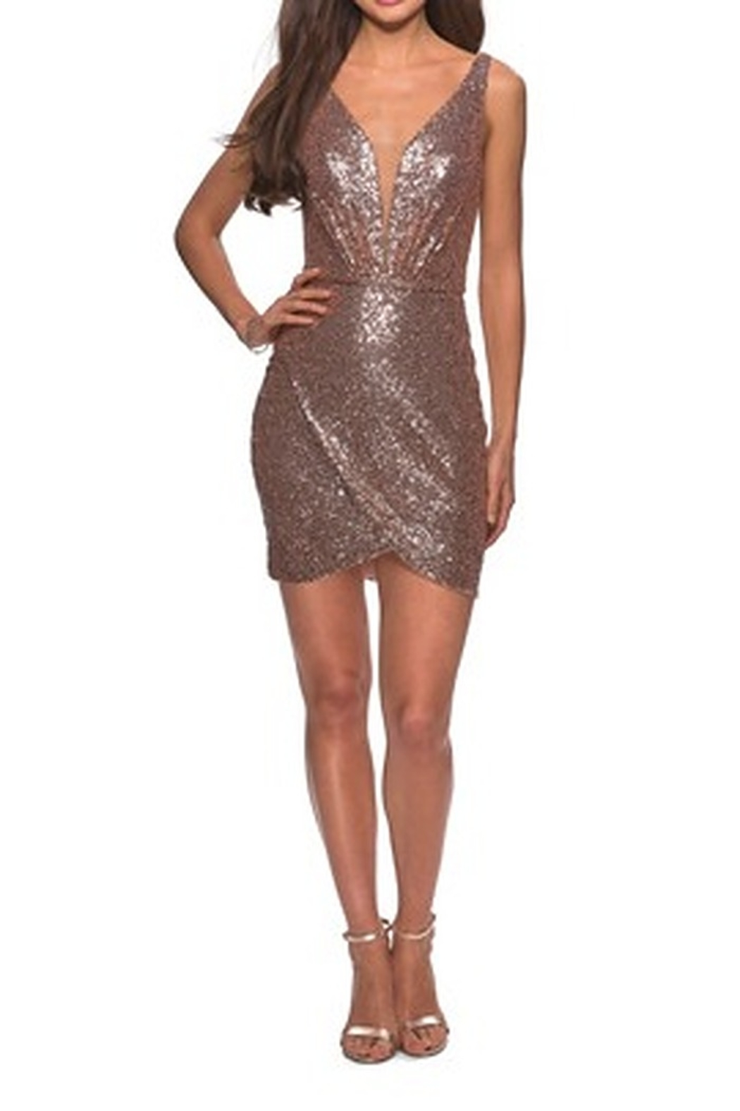 La Femme Sequined Dress With Faux Wrap Skirt And Open Back - Main Image