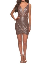 La Femme Sequined Dress With Faux Wrap Skirt And Open Back - Product Mini Image