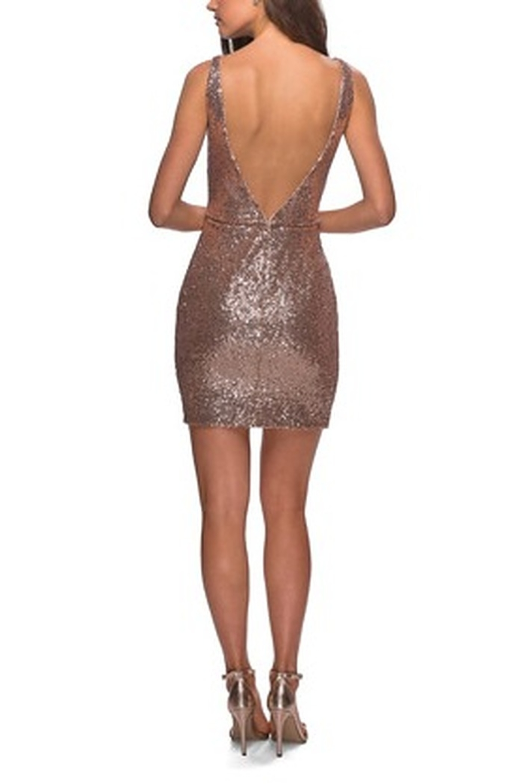 La Femme Sequined Dress With Faux Wrap Skirt And Open Back - Front Full Image