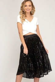 She + Sky Sequined Pleated Skirt - Product Mini Image