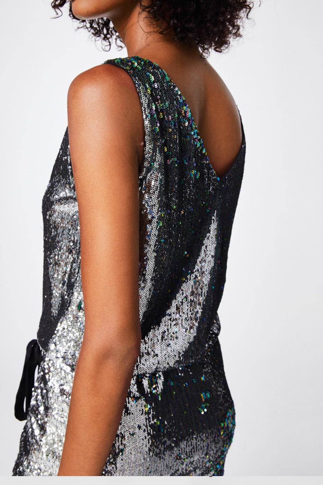 Nicole Miller Sequined Silver Dress - Side Cropped Image