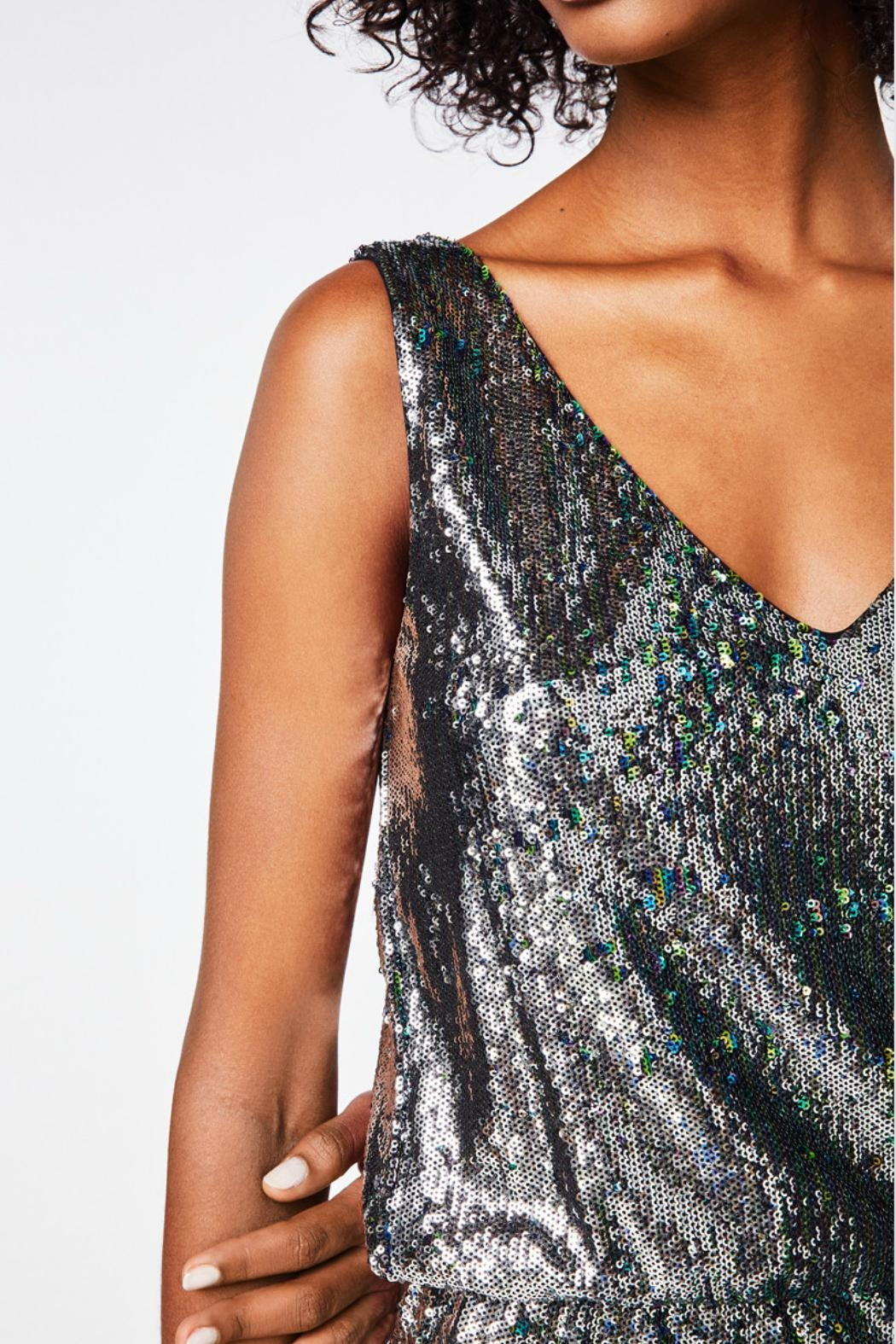 Nicole Miller Sequined Silver Dress - Back Cropped Image