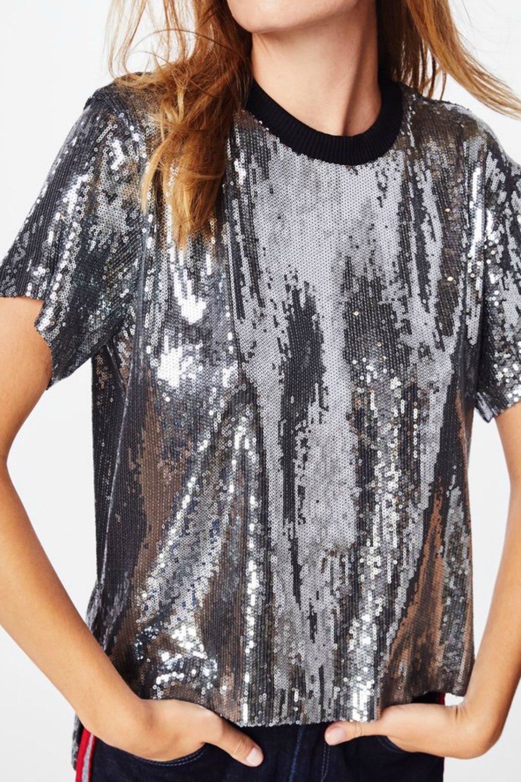 Nicole Miller Sequined Tee Shirt - Back Cropped Image