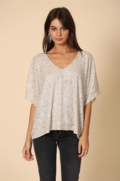 By Together Sequins V-Neck Short Sleeve Top - Product List Image