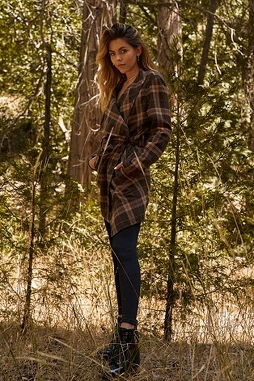 Tasha Apparel Sequoia Plaid Assymetrical Belted Coat - Front Full Image