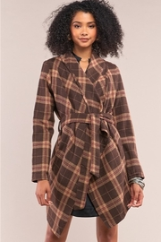 Tasha Apparel Sequoia Plaid Assymetrical Belted Coat - Side cropped