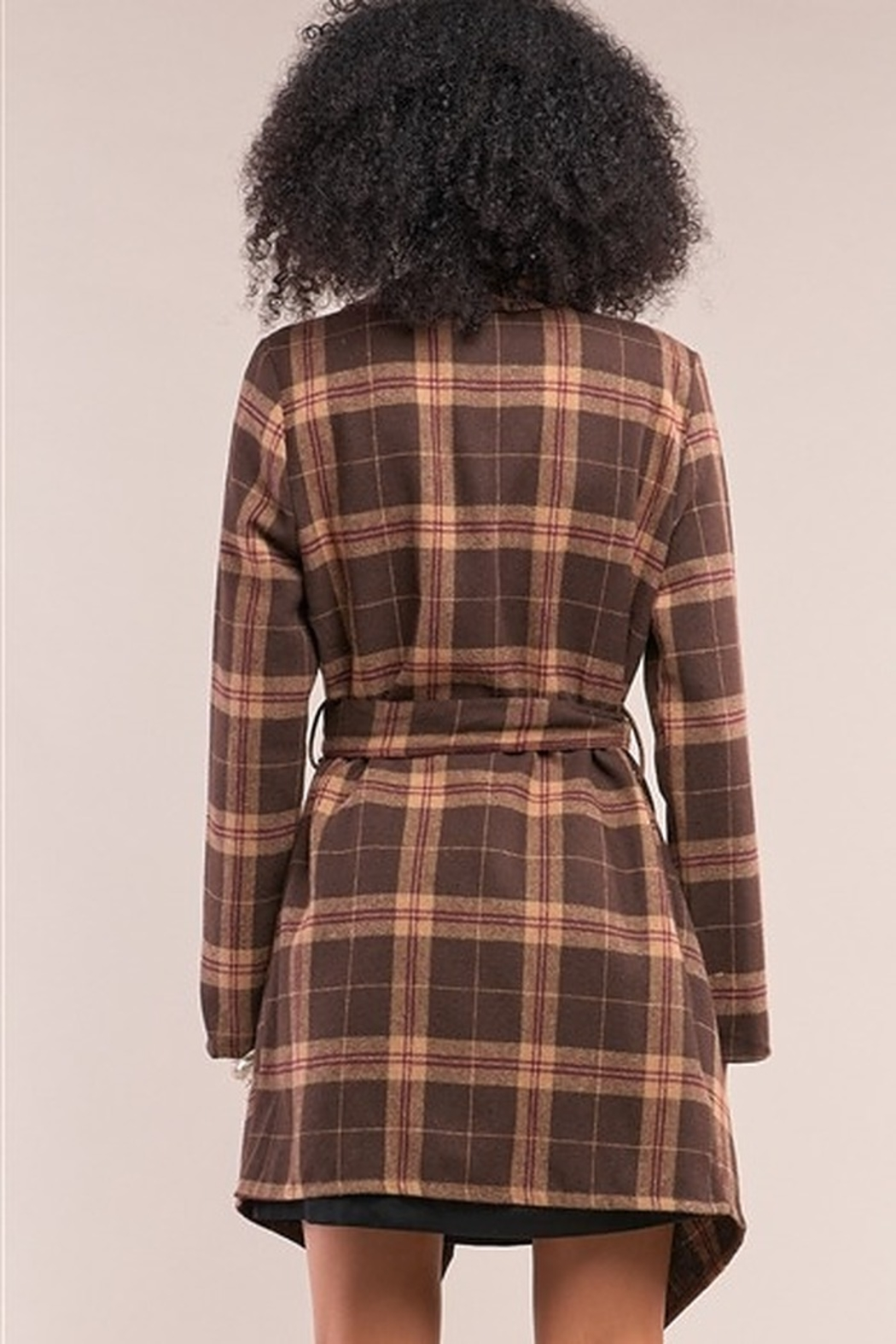 Tasha Apparel Sequoia Plaid Assymetrical Belted Coat - Back Cropped Image