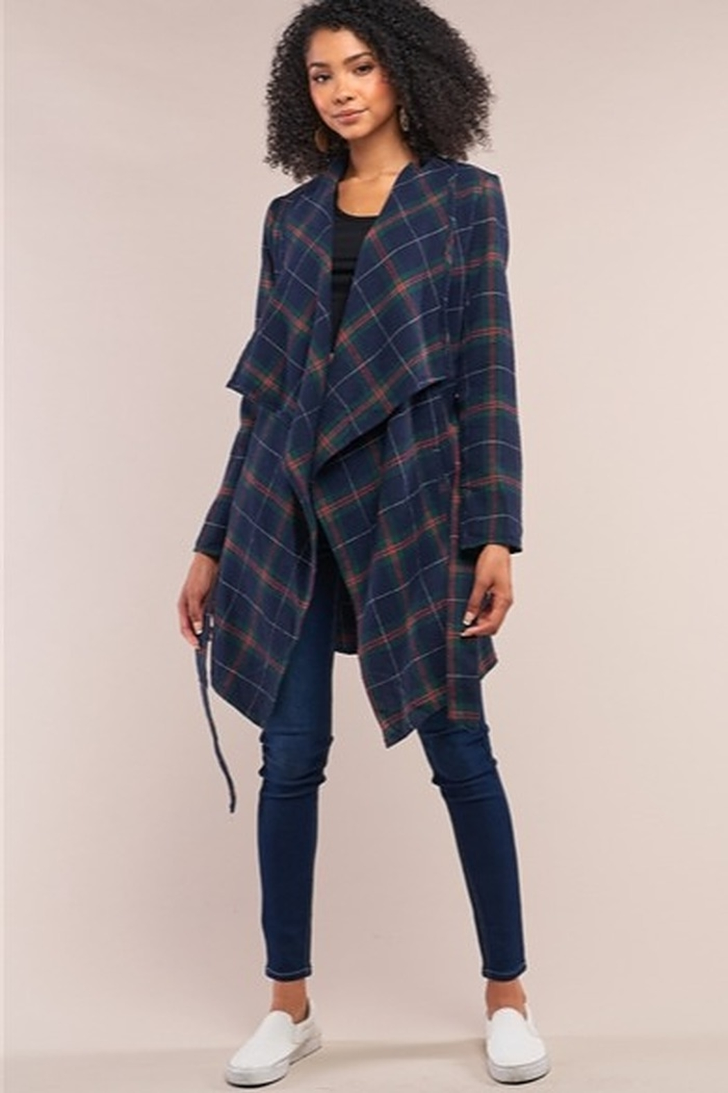 Tasha Apparel Sequoia Plaid Assymetrical Belted Coat - Side Cropped Image