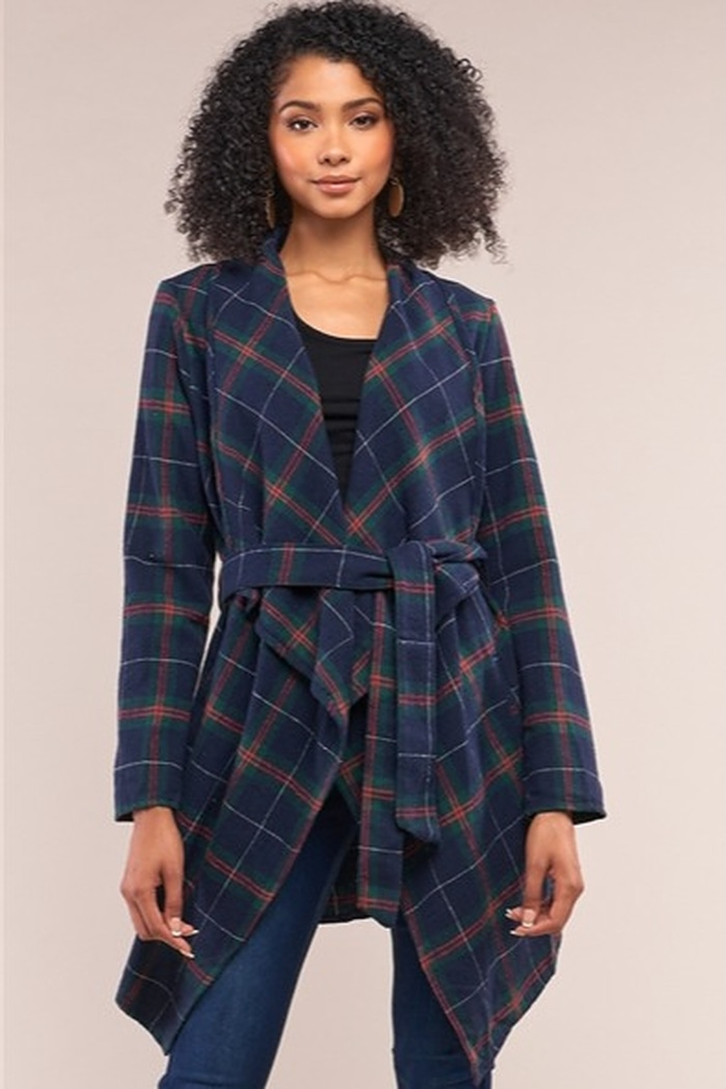 Tasha Apparel Sequoia Plaid Assymetrical Belted Coat - Main Image