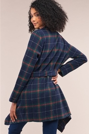 Tasha Apparel Sequoia Plaid Assymetrical Belted Coat - Front full body