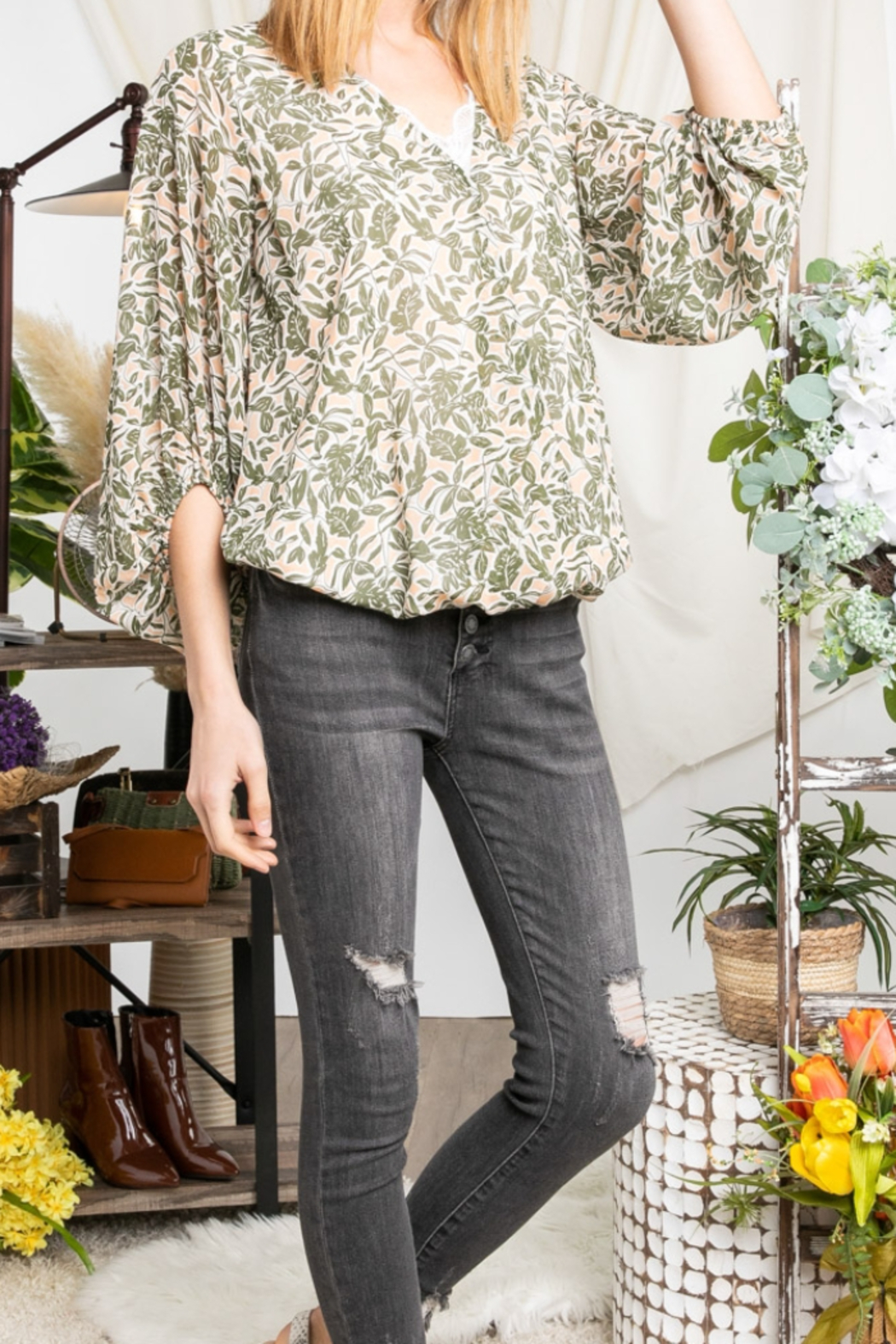 Davi & Dani Serenity Floral Blouse - Front Cropped Image