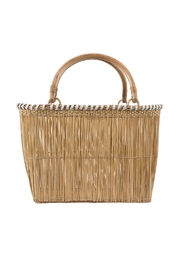 Serpui Marie Wicker Leather Trim Basket - Front cropped