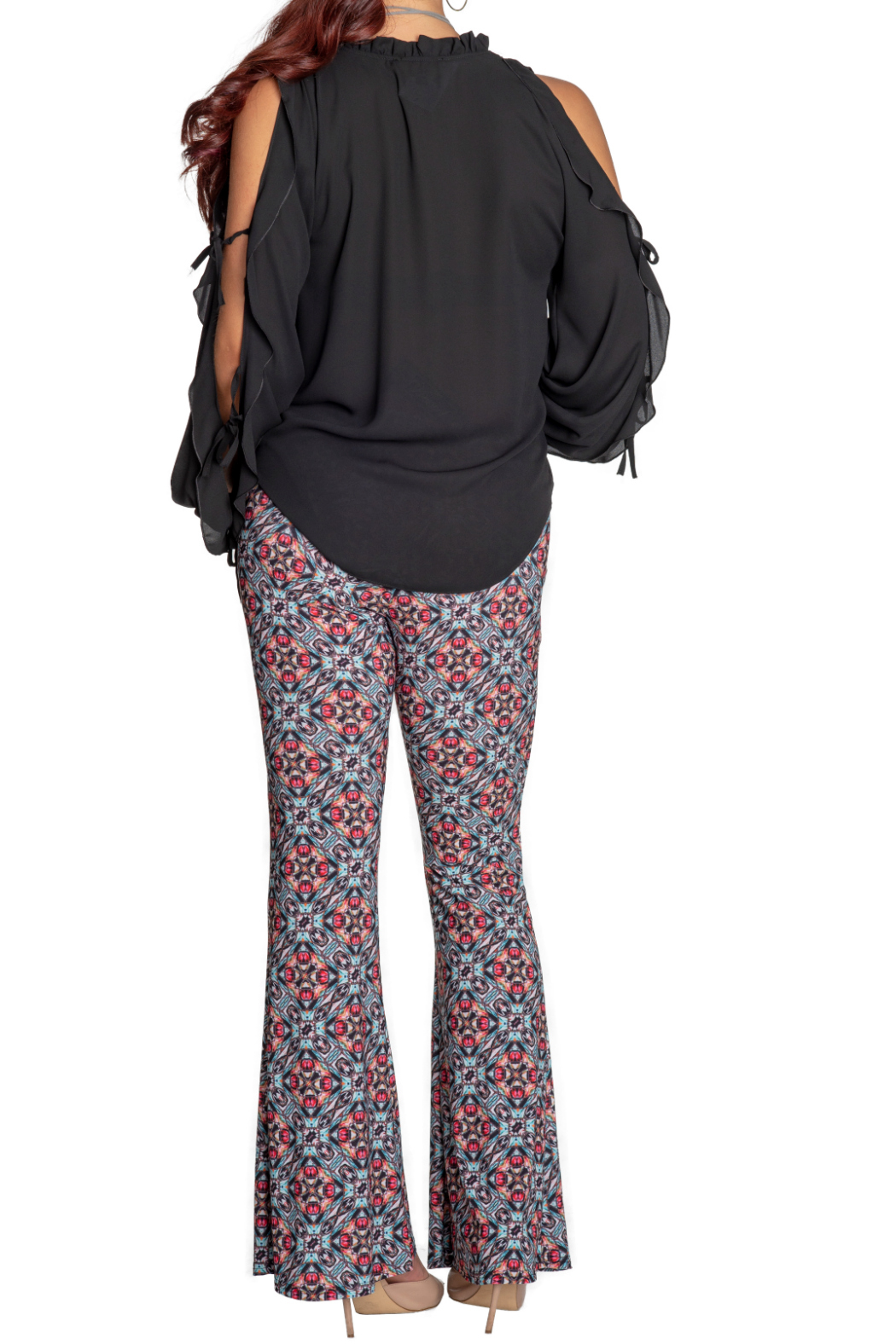 Viereck Serrano Print Flare Pull-on Pant - Side Cropped Image