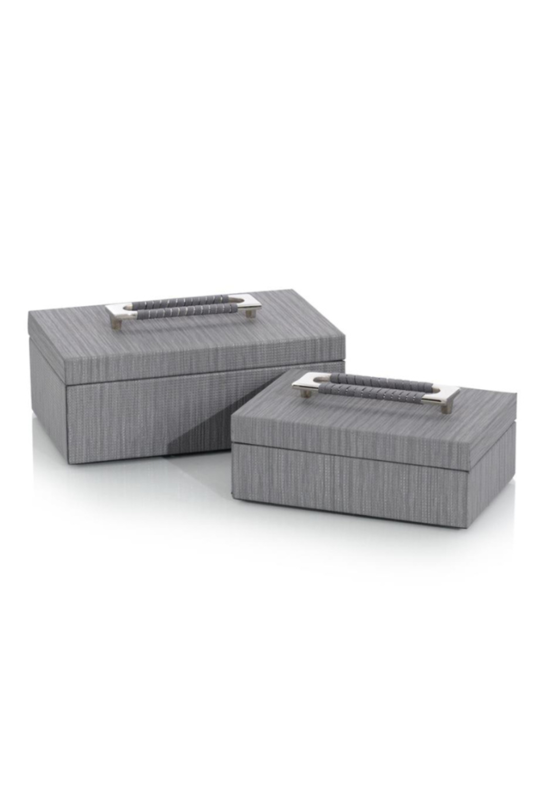 The Birds Nest SET/2 CHARCOAL CONFETTI LEATHER BOXES - Main Image