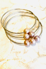 Maui Ocean Jewelry Set of 3 Edison Pearl Bangle Set - Sterling Silver - Product Mini Image